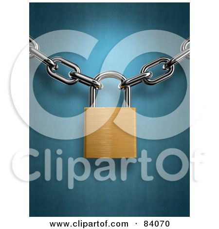Royalty-Free (RF) Clipart Illustration of a Golden 3d Padlock Securing Together Two Chains Over Blue by Mopic