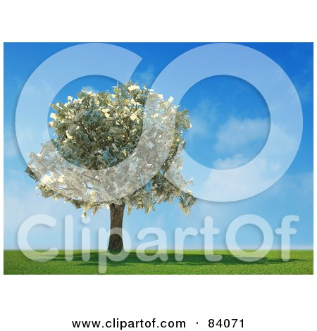 Royalty-Free (RF) Clipart Illustration of a 3d Money Tree Abundant With Cash In A Sunny Landscape by Mopic
