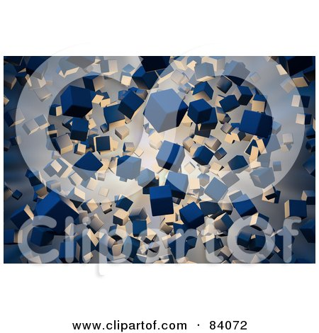 Royalty-Free (RF) Clipart Illustration of a Background Of Light Below Floating Blue 3d Cube Particles by Mopic
