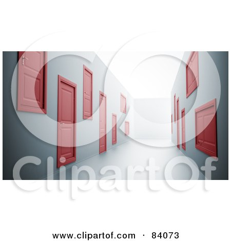 Royalty-Free (RF) Clipart Illustration of a Hallway Of 3d Red Doors In Strange Places Along The Walls by Mopic