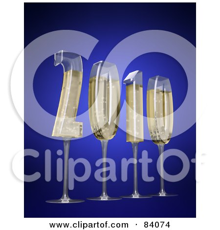 Royalty-Free (RF) Clipart Illustration of 3d Champagne Glasses In The Shape Of The New Year Of 2010 by Mopic