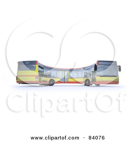 Royalty-Free (RF) Clipart Illustration of a 3d Curving City Bus by Mopic