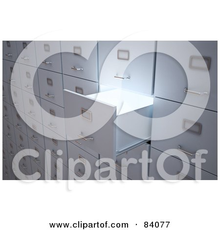 Royalty-Free (RF) Clipart Illustration of Light Shining Out Of An Open 3d Filing Cabinet Drawer by Mopic