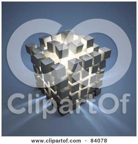 Royalty-Free (RF) Clipart Illustration of Light Shining Out Of An Exploding Puzzle Cube by Mopic