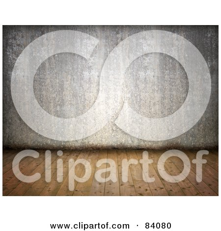 Royalty-Free (RF) Clipart Illustration of a 3d Grungy Room With Wood Floors And A Cement Wall by Mopic