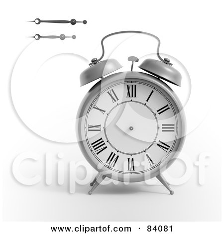 Royalty-Free (RF) Clipart Illustration of a 3d Alarm Clock With The Minute And Hour Hands To The Side by Mopic