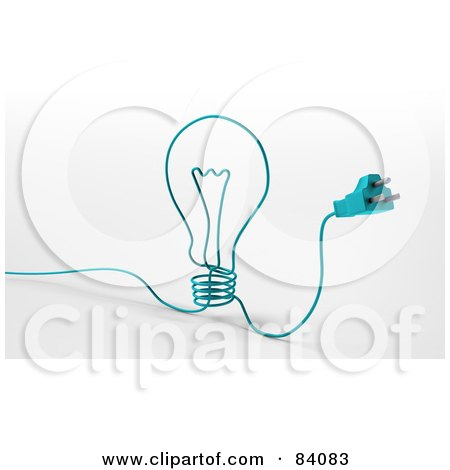 3d Blue Cable With A Plug, Forming A Light Bulb Posters, Art Prints