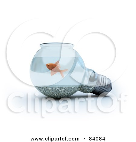 Royalty-Free (RF) Clipart Illustration of a 3d Light Bulb Fish Bowl by Mopic