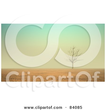 Royalty-Free (RF) Clipart Illustration of a 3d Bare Tree In The Cracking Desert by Mopic