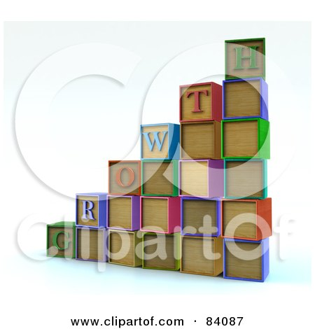 Royalty-Free (RF) Clipart Illustration of a Bar Graph Or Steps Made Of 3d Letter Blocks Spelling Growth by Mopic