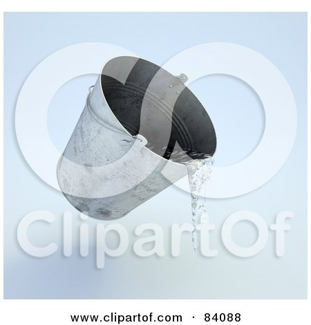 Royalty-Free (RF) Clipart Illustration of a 3d Metal Pail Pouring Water by Mopic