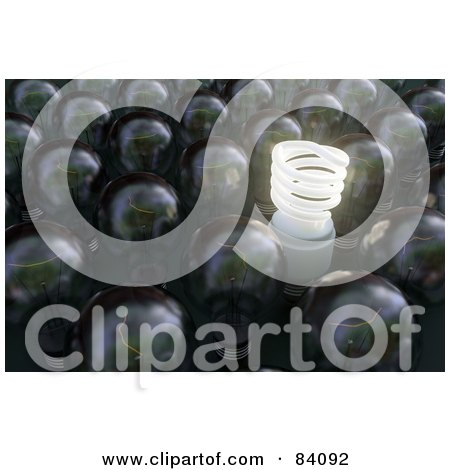Royalty-Free (RF) Clipart Illustration of a 3d Spiral Light Bulb Illuminated In A Crowd Of Rounded Bulbs. by Mopic