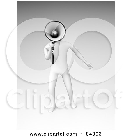 Royalty-Free (RF) Clipart Illustration of a 3d White Human Figure Announcing Through A Megaphone Over Shaded White by Mopic
