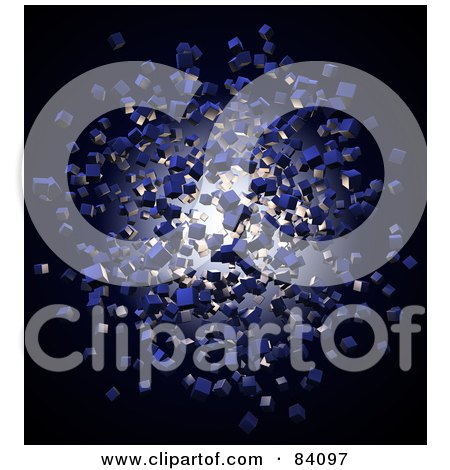 Royalty-Free (RF) Clipart Illustration of Blue 3d Cubic Particles Floating Around Light by Mopic