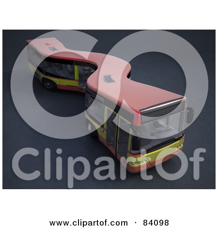 Royalty-Free (RF) Clipart Illustration of a 3d Curvy City Bus by Mopic