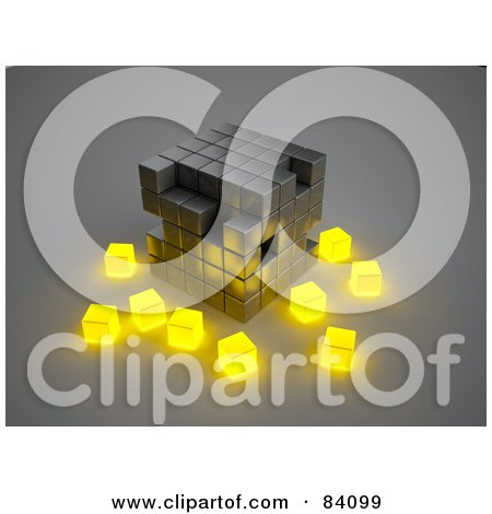 Royalty-Free (RF) Clipart Illustration of a Metal 3d Cubic Structure With Glowing Yellow Cubes Surrounding by Mopic