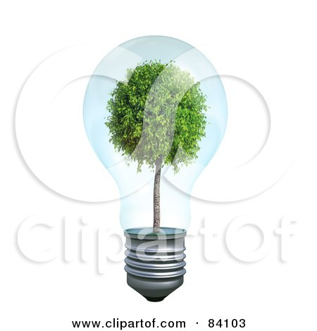 Royalty-Free (RF) Clipart Illustration of a Mature Tree Growing Inside Of A Transparent 3d Light Bulb by Mopic