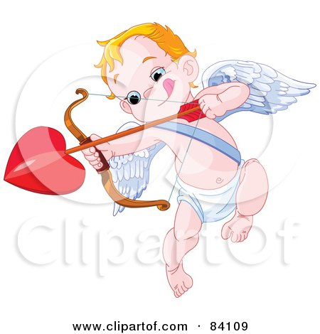 Little Cupid Biting His Lip And Aiming A Heart Arrow Posters, Art Prints