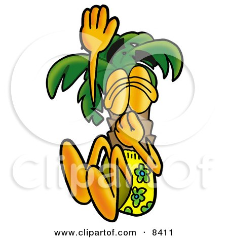 Clipart Picture of a Palm Tree Mascot Cartoon Character Plugging His Nose While Jumping Into Water by Toons4Biz