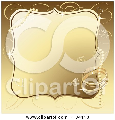 Royalty-Free (RF) Clipart Illustration of a Golden Wedding Background With Pearls, Wedding Rings And Hearts by Pushkin