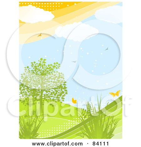 Royalty-Free (RF) Clipart Illustration of a Green Hilly Spring Landscape With Plants, A Tree, Butterflies And Birds With Halftone Dots by elaineitalia