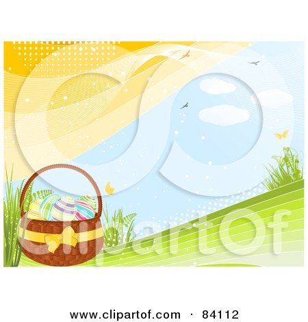 Royalty-Free (RF) Clipart Illustration of Eggs In An Easter Basket On A Green Spring Hill With Butterflies, Birds And Plants, With Halftone Dots by elaineitalia