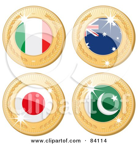 Royalty-Free (RF) Clipart Illustration of a Digital Collage Of Four 3d Golden Shiny Medals; Italy, Australia, Japan And Pakistan by elaineitalia