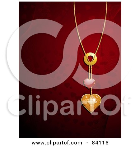 Royalty-Free (RF) Clipart Illustration of a 3d Gold Chain With Gold And Red Hearts Over A Red Background Of Hearts And Mesh Waves by elaineitalia