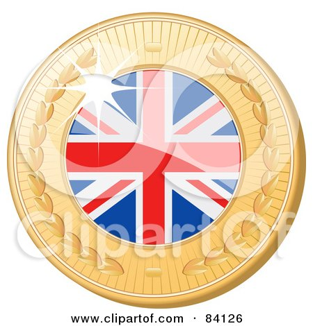 Royalty-Free (RF) Clipart Illustration of a 3d Golden Shiny United Kingdom Medal by elaineitalia