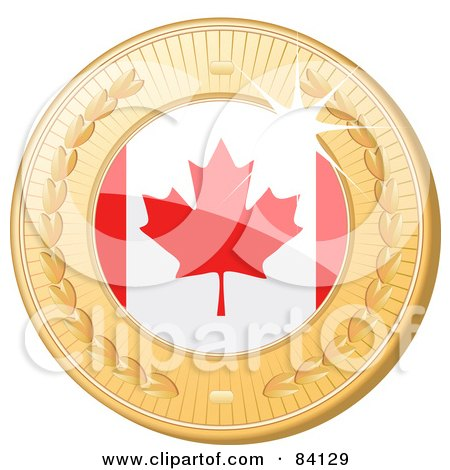 Royalty-Free (RF) Clipart Illustration of a 3d Golden Shiny Canada Medal by elaineitalia