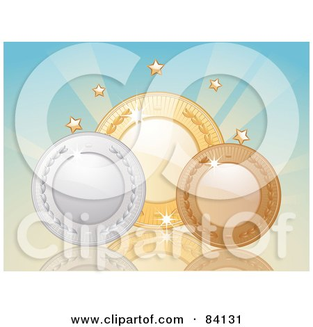Royalty-Free (RF) Clip Art Illustration of 3d Silver, Bronze And Gold Shiny Medals Under Stars Against Blue by elaineitalia