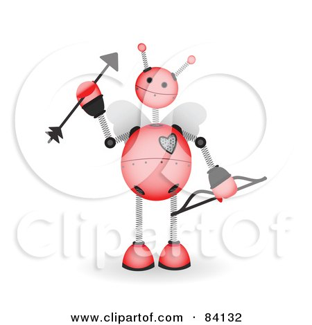 Royalty-Free (RF) Clipart Illustration of a Pink Springy Robot Cupid With A Bow And Arrow by mheld