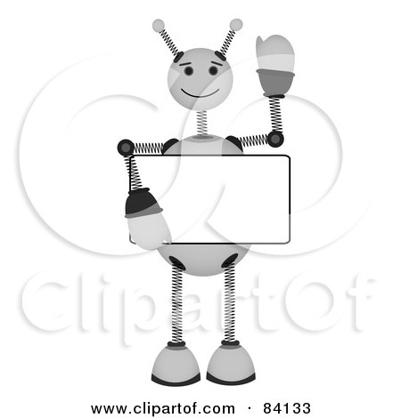 Royalty-Free (RF) Clipart Illustration of a White Springy Robot Holding A Blank Sign And Waving by mheld