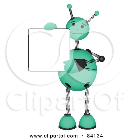 Royalty-Free (RF) Clipart Illustration of a Green Springy Robot Holding A Blank Sign And Waving by mheld