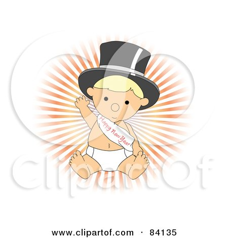 Royalty-Free (RF) Clipart Illustration of a Blond Baby In A Diaper, Wearing A Top Hat And A Happy New Year Sash by mheld