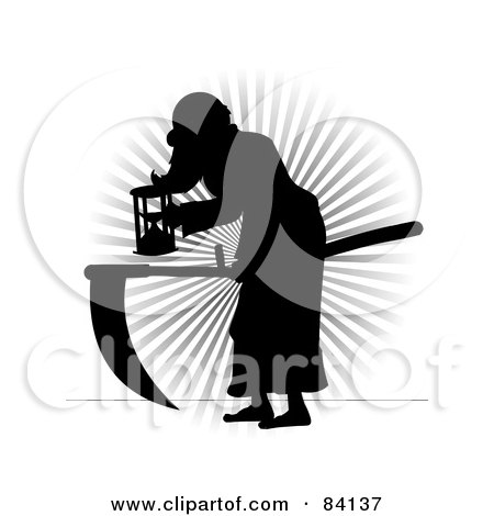 Royalty-Free (RF) Clipart Illustration of a Black Silhouette Of Father Time Bending Over by mheld