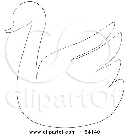 Royalty-Free (RF) Clipart Illustration of a Swan Outline by Rosie Piter