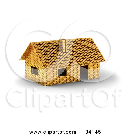 Royalty-Free (RF) Clipart Illustration of a 3d Home Constructed Of Gold Bars by stockillustrations