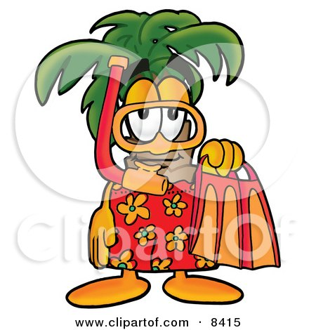 Clipart Picture of a Palm Tree Mascot Cartoon Character in Orange and Red Snorkel Gear by Toons4Biz