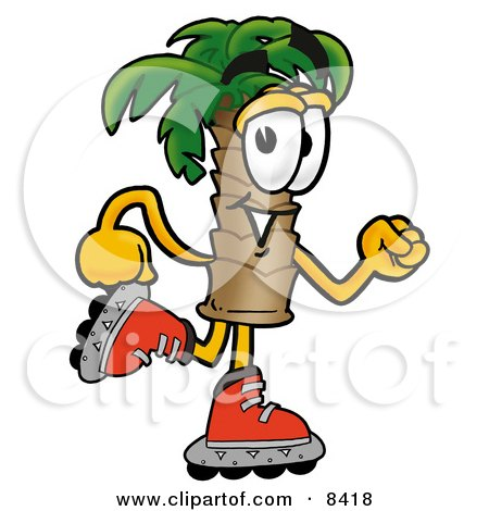 Clipart Picture of a Palm Tree Mascot Cartoon Character Roller Blading on Inline Skates by Toons4Biz