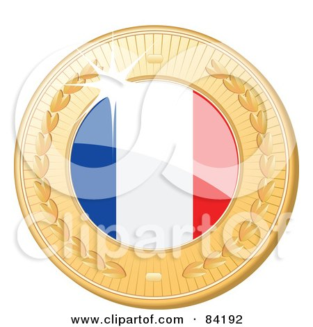 Royalty-Free (RF) Clipart Illustration of a 3d Golden Shiny France Medal by elaineitalia