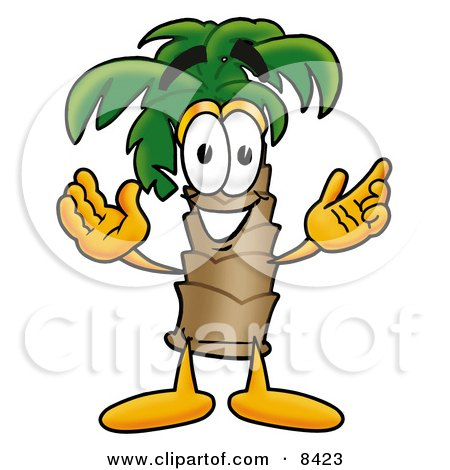 Clipart Picture of a Palm Tree Mascot Cartoon Character With Welcoming Open Arms by Toons4Biz