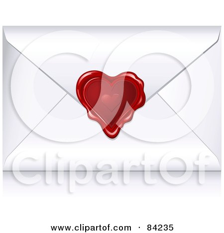 Royalty-Free (RF) Clipart Illustration of a White Valentine Envelope Sealed With A Heart Wax Seal by Anja Kaiser