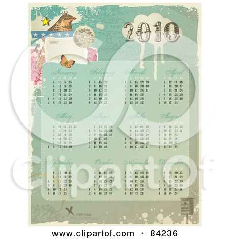 Royalty-Free (RF) Clipart Illustration of a Grungy Vintage Styled 2010 Calendar With A Bird, Butterfly And All Twelve Months by Anja Kaiser