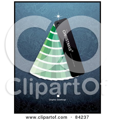Royalty-Free (RF) Clipart Illustration of a Christmas Tree Made Of Green Paint Color Swatches by Anja Kaiser