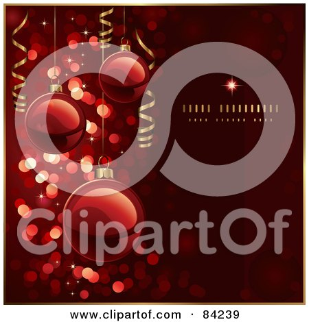 Royalty-Free (RF) Clipart Illustration of a Red Christmas Ball Background With Glitter And Gold Ribbons by Anja Kaiser