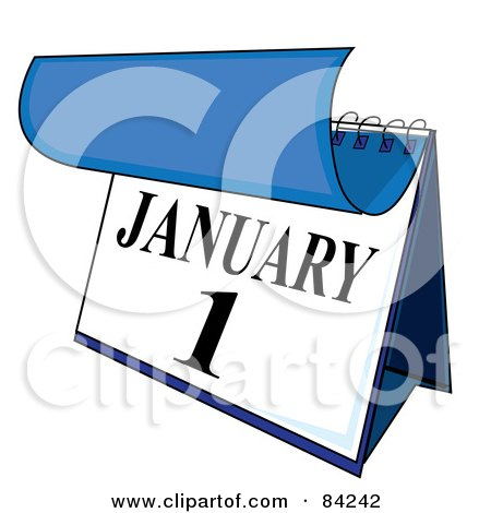 Royalty-Free (RF) Clipart Illustration of a Blue And White Desk Calendar Peeling Back A Page For The New Year On January First by Pams Clipart