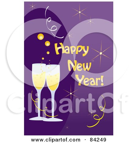 Royalty-Free (RF) Clipart Illustration of a Happy New Year Greeting With Toasting Champagne Glasses On Purple by Pams Clipart