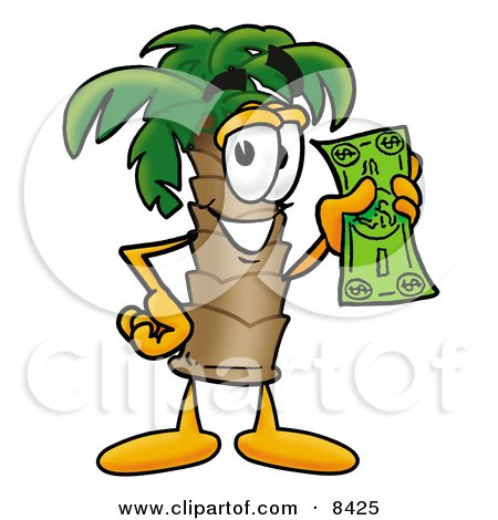 Clipart Picture of a Palm Tree Mascot Cartoon Character Holding a Dollar Bill by Toons4Biz