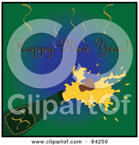 Royalty-Free (RF) Clipart Illustration of a Happy New Year Greeting Over A Cork Popping Out Of A Champagne Bottle On Green by Pams Clipart